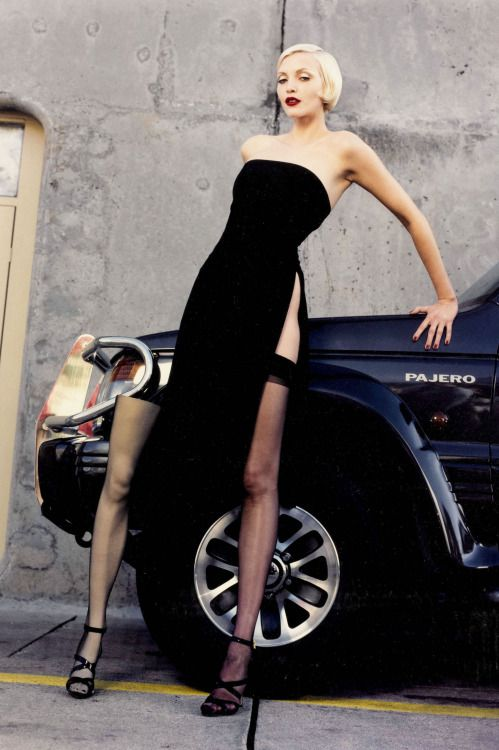 Nadja Auermann by Helmut Newton for Vogue, February 1995
