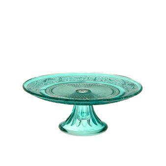 Alzata per torta in vetro turchese