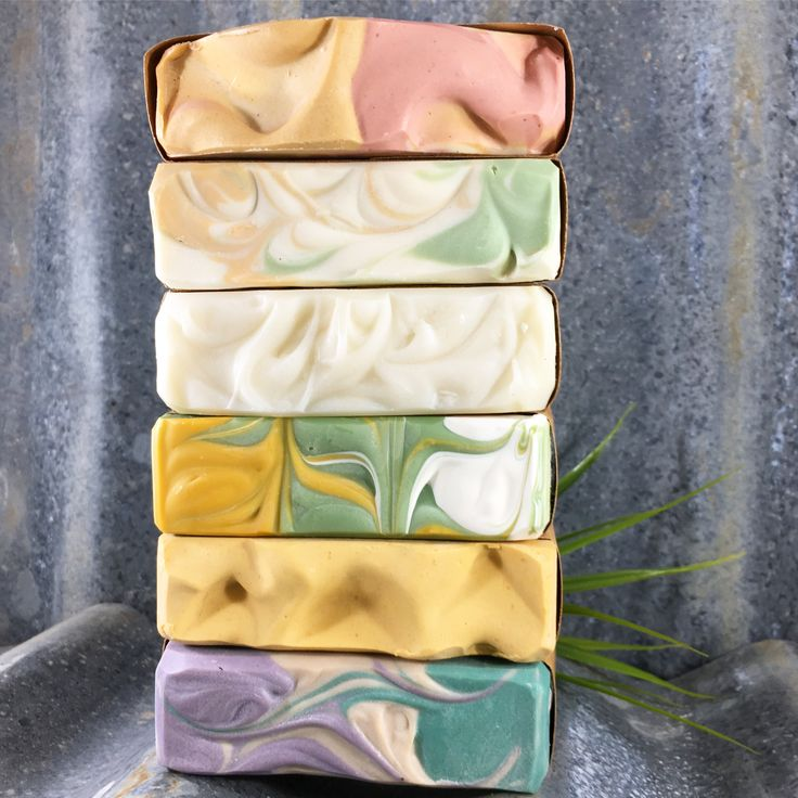 Stack of handmade soaps. Made with essential oils, organic cocoa butter, shea butter, coconut oil and Australian olive oil. www.tinshedsoapco.com.au
