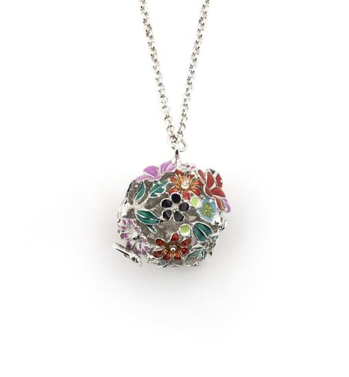 Bill Skinner Floral Collection   Heatherscollectables.com  Floral Orb Rhodium Enamelled Pendant  The Floral Orb pendant is a colourful and playful piece, 76cm in length with a 6cm extension chain, and Enamelled by hand, it is a unique pendant that looks equally good when dressed either up or down.  £75