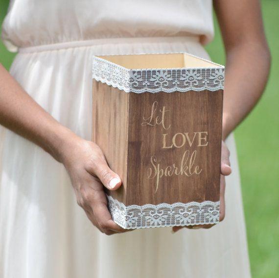 Supporto di stelle filanti di cerimonia nuziale, lasciare che ami sparkle, scatola di stelle filanti in legno, decorazioni di nozze