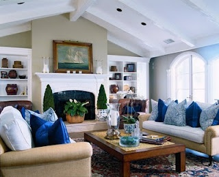 Navy White And Tan Living Room