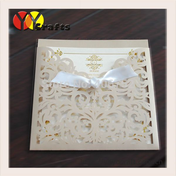 Cheap invitation name cards, Buy Quality invitation post cards directly from China invitation cards india Suppliers: free shipping hot sale  laser cut customized Champagne gold wedding invitations card with insert,envelope and seal