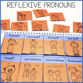 This Reflexive Pronouns Interactive Notebook is a part of our Interactive Grammar Notebook Growing Bundle Volume Two.   Get the growing bundle and save BIG!! Grammar Interactive Notebook Volume 2Reflexive Pronouns Interactive Notebook Contents: - Pronouns and Reflexive Pronouns Matching- Reflexive Pronouns Sort- Reflexive Pronouns/Nouns MatchingBe sure to download a preview, or use the individual links to each resource to see more details about what is included in this resource.