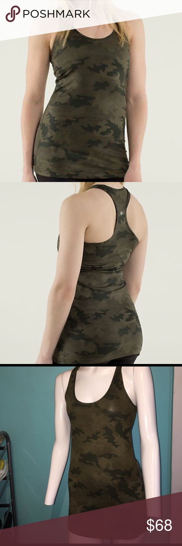 Lululemon camo tank top Looks brand new! Super cute green camo color- size 6- very sight after color/pattern. lululemon athletica Tops Tank Tops