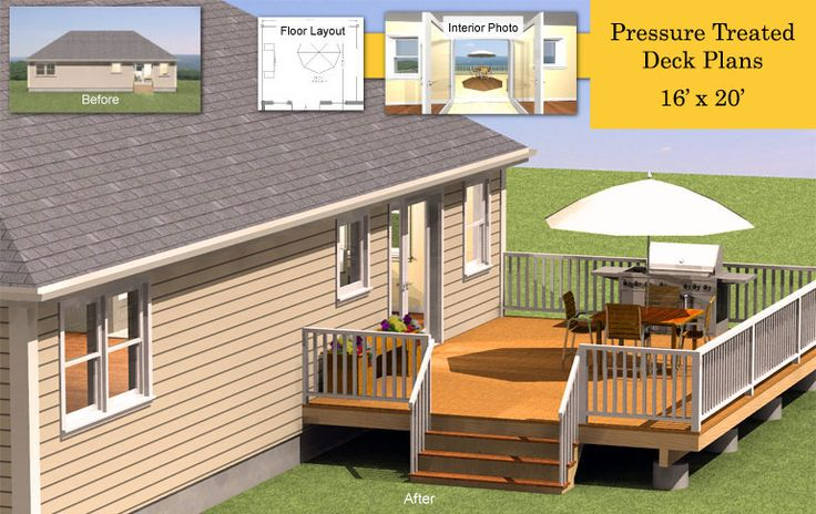 16 39 x 20 39 pressure treated deck plans deck ideas for 16x16 deck cost