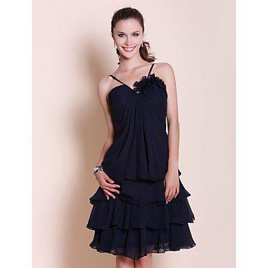 Bridesmaid Dress Knee Length Chiffon A Line Spaghetti Straps Dress – USD $ 61.59