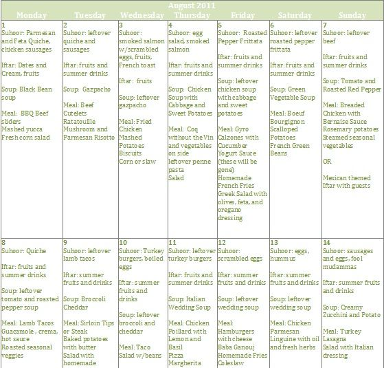 Ramadan calendar- tips for meal planning