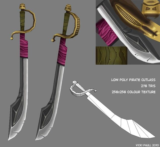 Low poly pirate sword