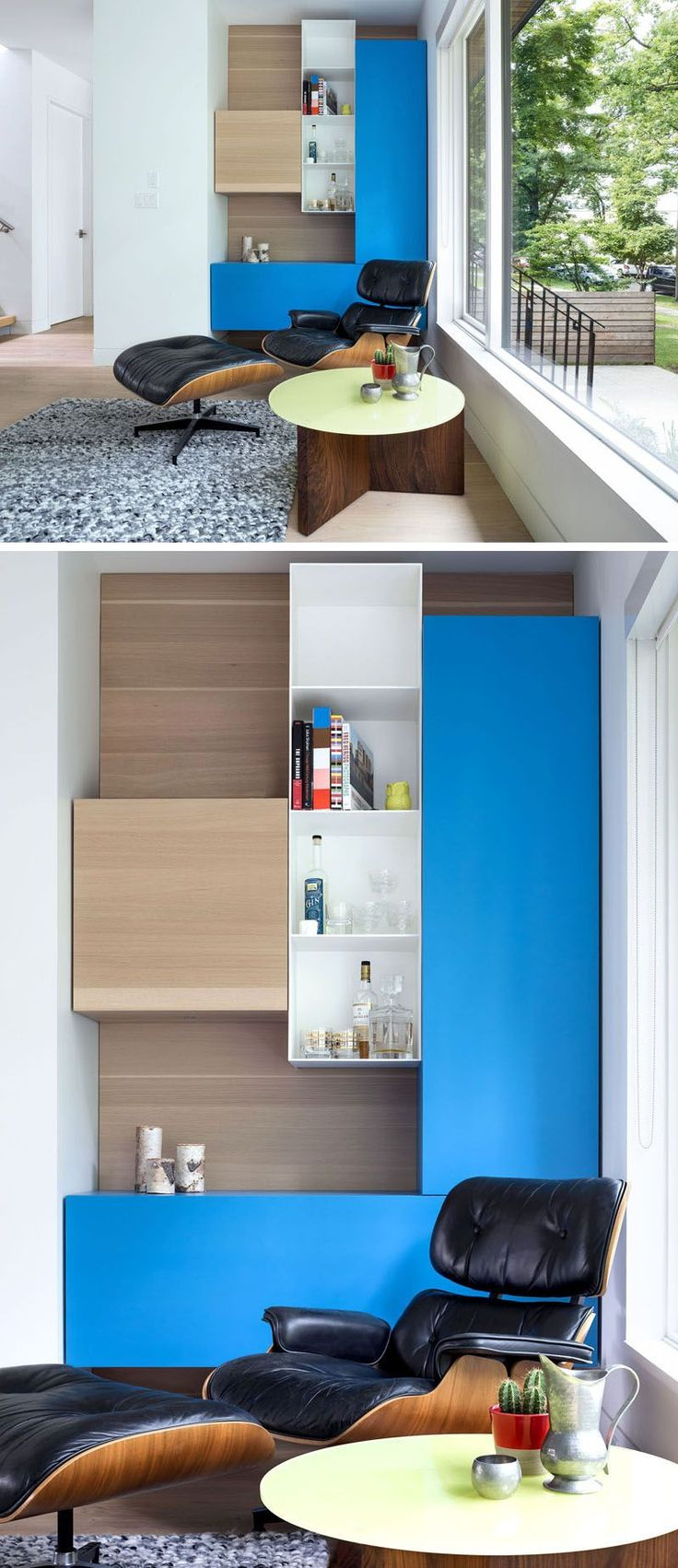 Pops of color and built-in shelving have been used in this small sitting area.