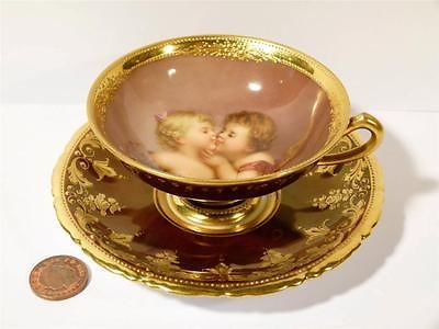 Exquisite Antique Cabinet Cup Saucer Kissing Girls Signed Wagner