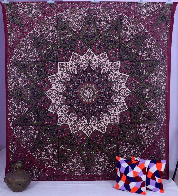 Maroon star Tapestry Wall Hanging Hippie Tapestries by THEWALLARTS