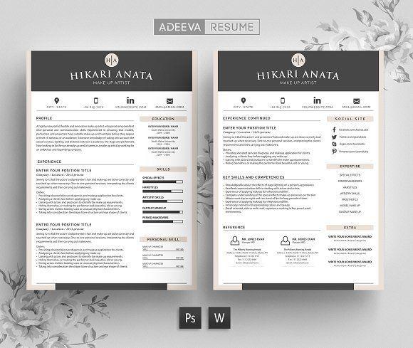 Simple Resume Template Anata by AdeevaResume on /creativemarket/