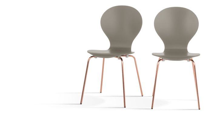 2 x Kitsch Stühle, Aschgrau mit Kupferbeinen - MADE.COM | MADE.COM