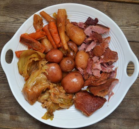 Bakeaholic Mama: New England Boiled Dinner (Smoked Pork Shoulder/Picnic Ham w/ Root Veggies and Cabbage)