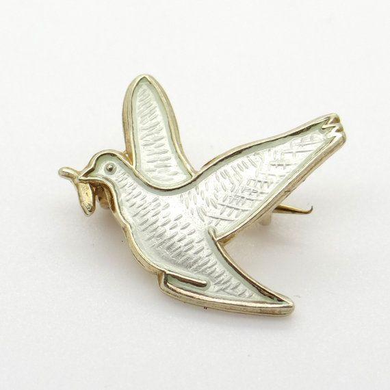 Vintage Dove Bird Pin Brooch, Guilloche Enamel on 925 Sterling Silver, Vintage Norway Arne Nordlie Jewelry, 1950s Scandinavian Nordic Silver at VintageArtAndCraft
