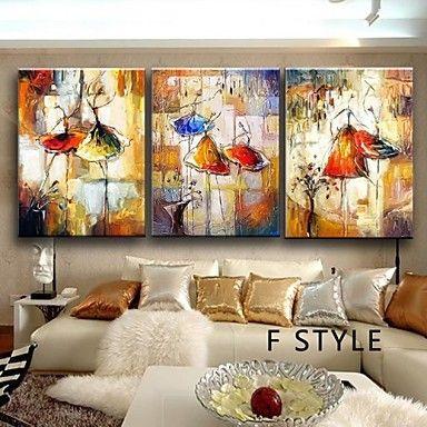 handgeschilderde balletdanser canvas schilderij kunst olieverf op doek 3pcs / set zonder frame – EUR € 39.99