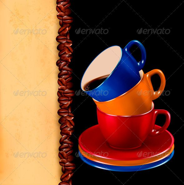 Background with colorful cups of coffee and paper
