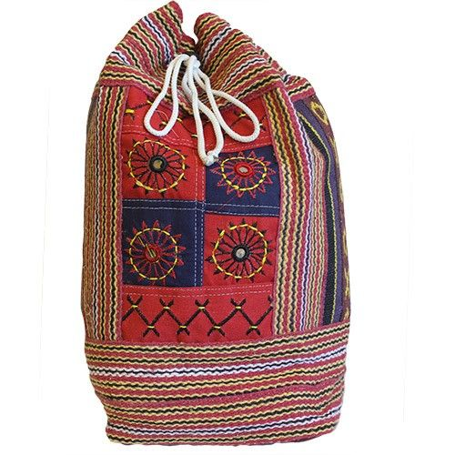 Nepal Duffle Bag - Décor Panel   Hip Angels Made from 100% natural cotton material they also have an internal double biodegradable plastic which makes the bag more durable and longer-lasting.   These duffle bags are featured  in three different designs and colours and also have an adjustable toggle closure making it easier to open and close the bags. #Wholesaler_Bags #Wholesale_Bag #Bag_Wholesale #Bags_Wholesaler #Rucksack
