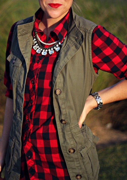 cargo vest red plaid shirt statement necklace prep outfit