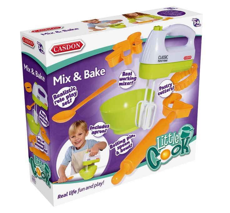 A real working mixer and accessories in new contemporary colors. Includes 3 x pastry cutters, spoon, rolling pin and mixing bowl.