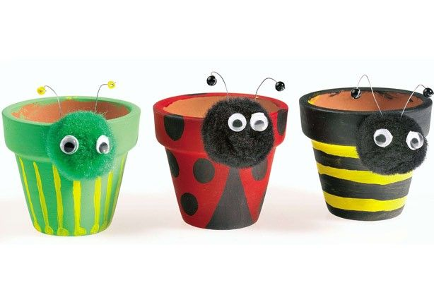 Painted Pot Ideas | Garden crafts for kids - Plant pot pets - Family - goodtoknow These could be a winner with a solo half term coming up.