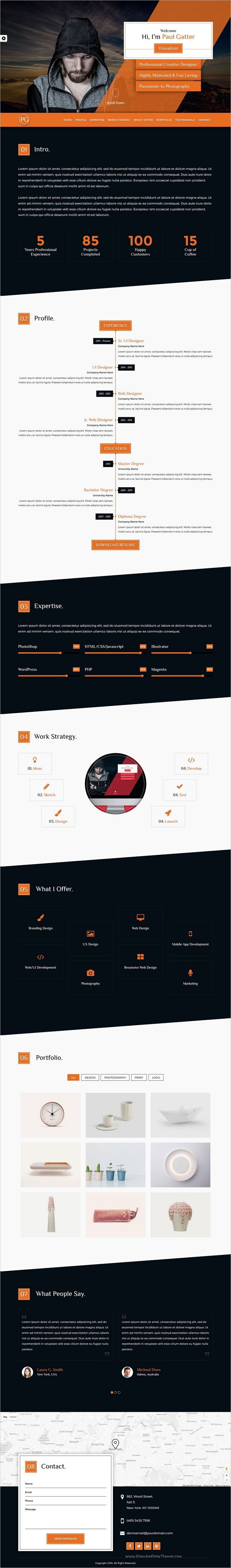 Paul gatter is a unique and modern design responsive #HTML #Bootstrap template for your personal #resume, #CV or your portfolio websites download now➩ https://themeforest.net/item/paul-gatter-resume-portfolio-template/18993230?ref=Datasata