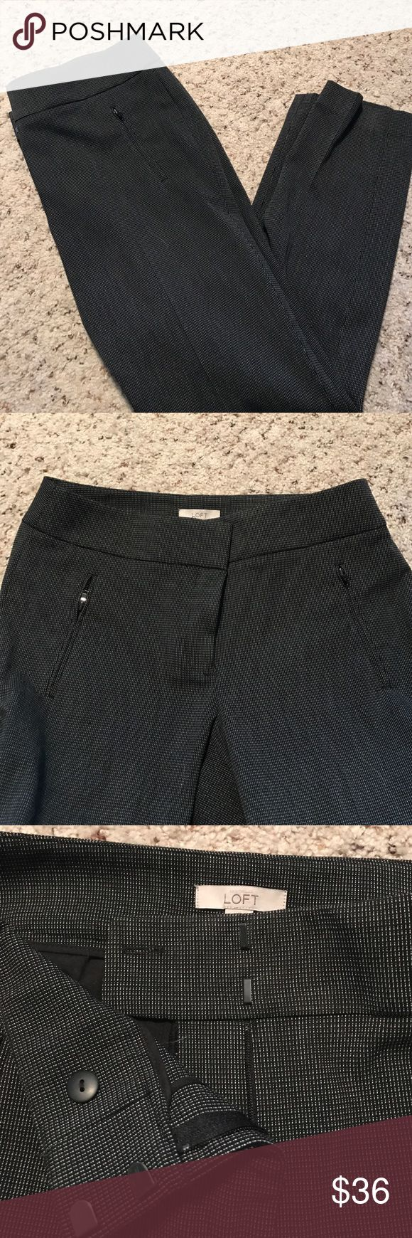 Loft black and white slacks with zipper pockets Worn once! These are very well made and look and feel expensive! They are a subtle black and white checkered pattern. Button and hook closures in front. LOFT Pants Trousers