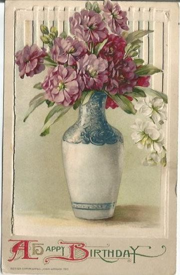 """Antique Novelty Postcards """"A Happy Birthday"""" Bouquet of Purple Dianthus White Dianthus 1911 with flip open front and cottage scene"""