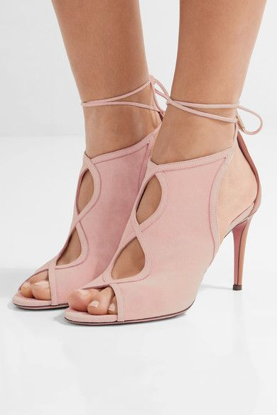Heel measures approximately 85mm/ 3.5 inches Baby-pink suede, brown leather Ties at ankle Designer color: Peony/ Whiskey  Made in ItalySmall to size. See Size & Fit notes.