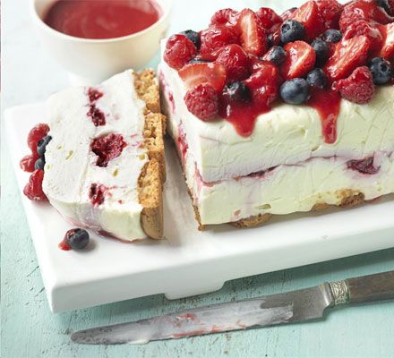 White chocolate berry cheesecake. A stunning no-cook pudding bursting with summer flavours - great for relaxed entertaining