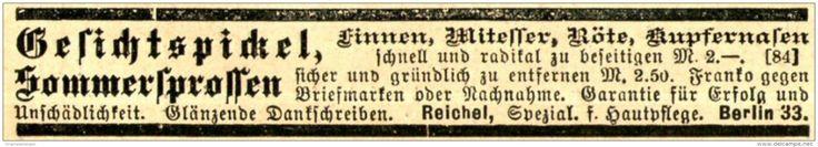 Original-Werbung/ Anzeige 1897 - GESICHTSPICKEL / REICHEL - BERLIN - ca. 90 x 15…