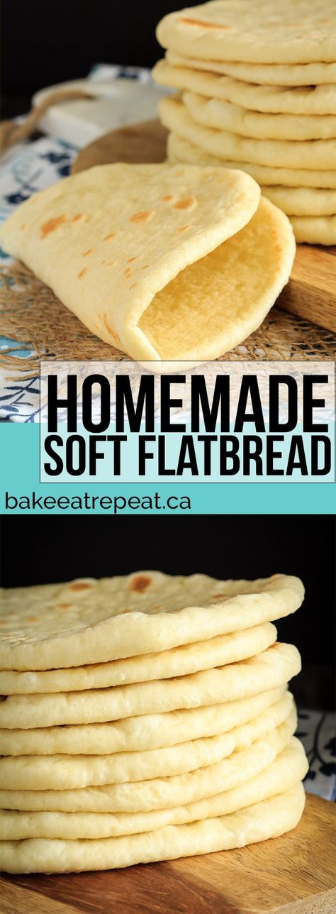 This homemade soft flatbread recipe is super easy to make and is perfect for sandwiches, gyros or even mini pizzas. Easy soft flatbread you will love!