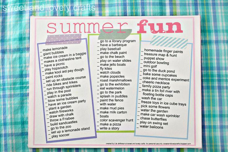 Summer activities printable: Summer Kids, Sweet, Menu, Summer Activities, Summer Buckets Lists, Kids Fun, Summer Fun Lists, Crafts, Fun Printables