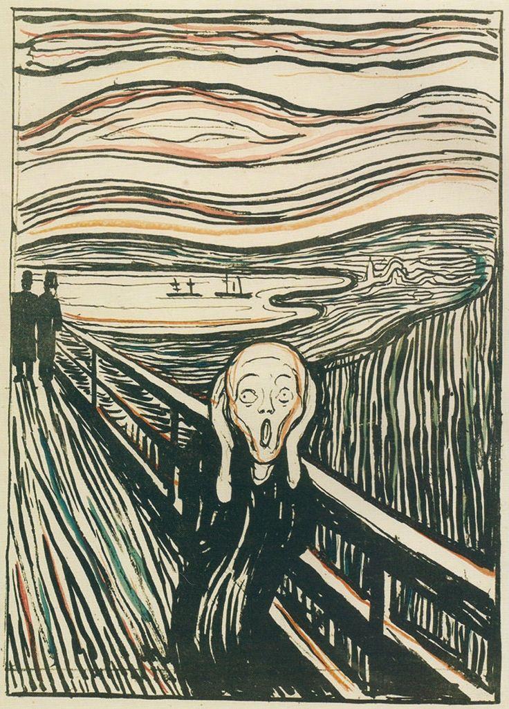 Le Cri, gravure sur bois coloriée à la main, Munch