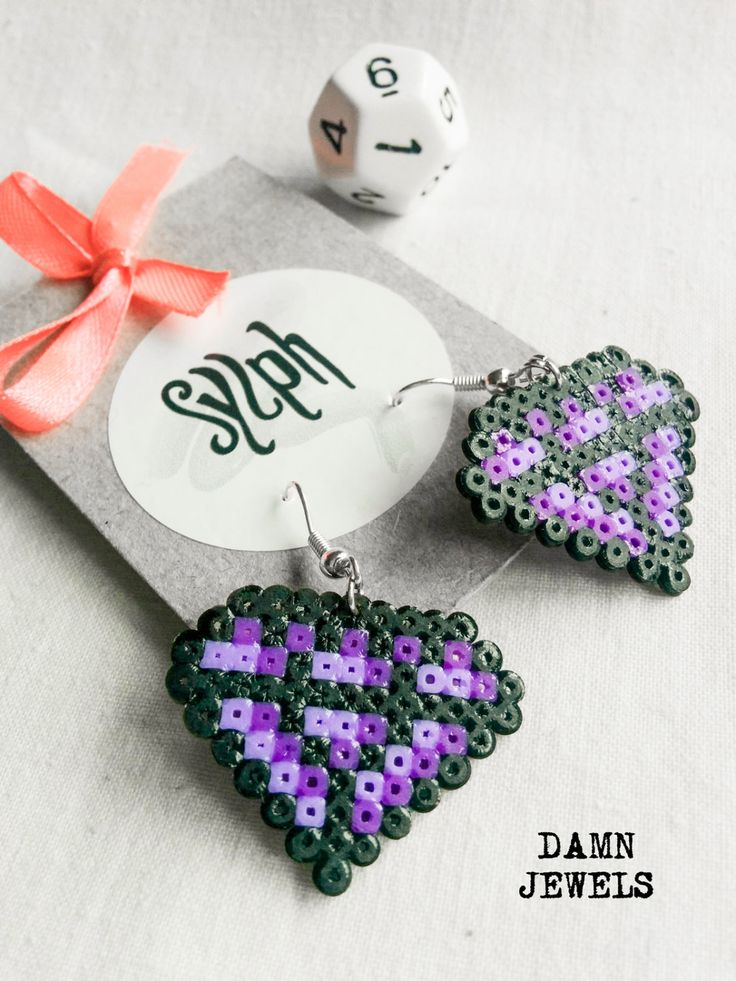 Purple pixelated 8bit crystal shaped Damn Jewels dangle earrings made out of Hama Mini Perler beads, pixel jewelry for the bold and colorful. All metal is silverplated. Lead free. Various colors available. Just ask! These handmade perler beads may differ slightly from the picture in terms of shape