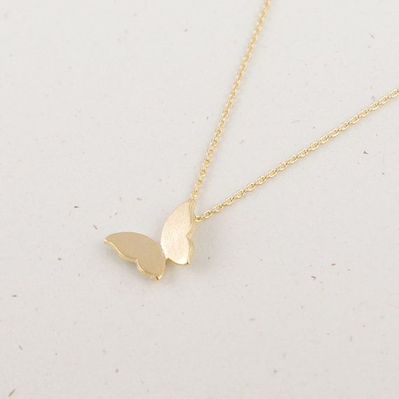 Gold/ Silver/ Pink gold Butterfly Necklace by bkandjio on Etsy, $12.80