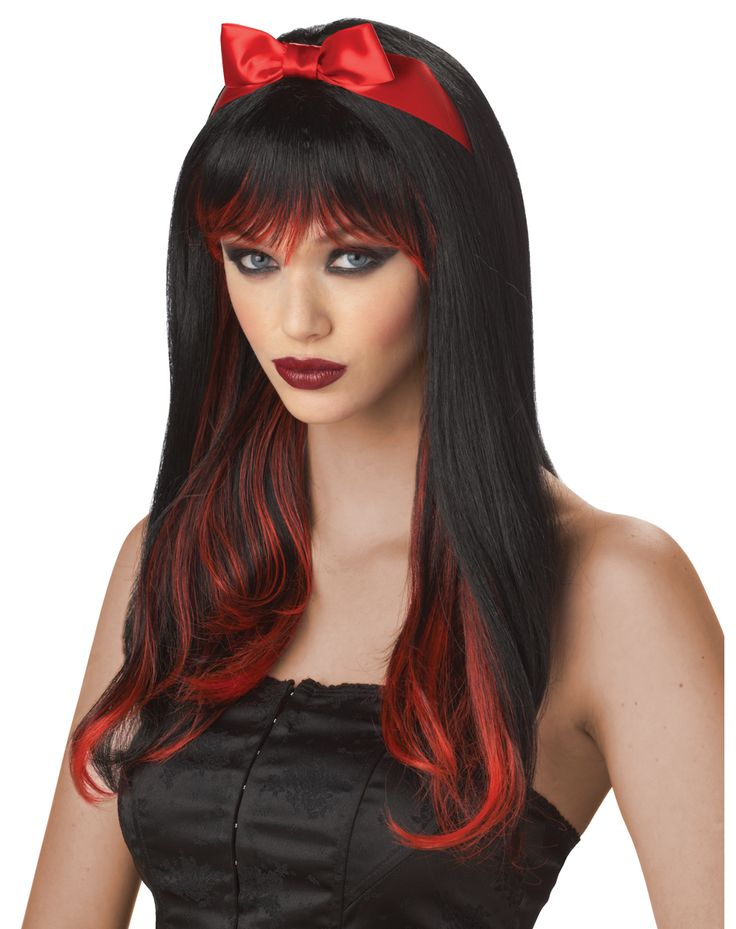 enchanted tresses black and red long wig with bangs red tips and red satin bow enchanted tresses wig black and red wig long black wig - Red Wigs For Halloween
