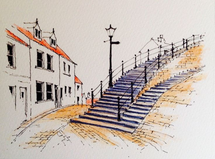 Whitby steps up to the Abbey ~ sketch ~ John Edwards