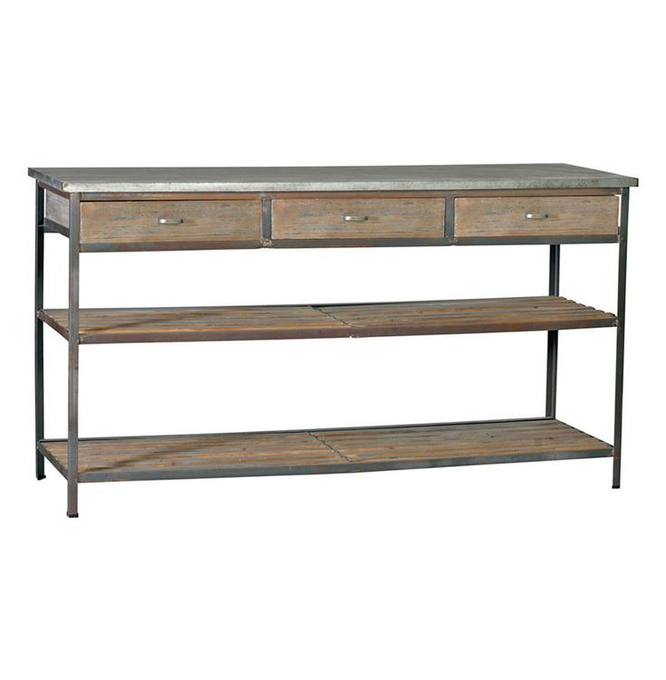 Nicholas Industrial Loft Kitchen Island Console Table With Drawers