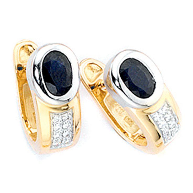 Creolen 585 Gold Gelbgold 16 Diamanten Brillanten 2 Safire blau Ohrringe A36381
