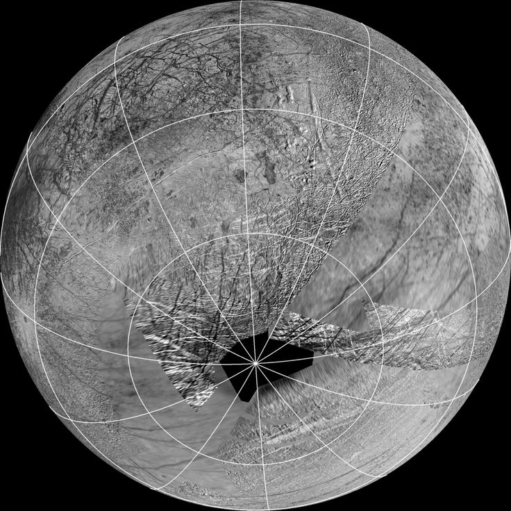 This reprojection of the official USGS basemap of Jupiter's moon Europa is centered at the estimated source region for potential plumes that might have been detected using the Hubble Space Telescope
