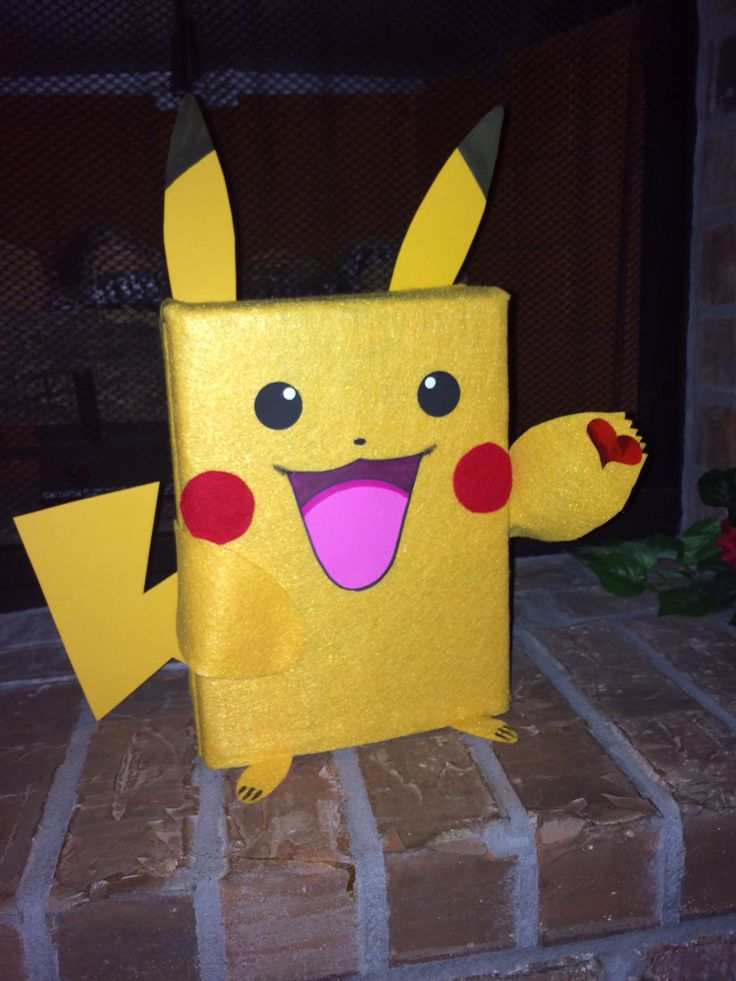 Pikachu Valentine Card Box I made for my son. 2015