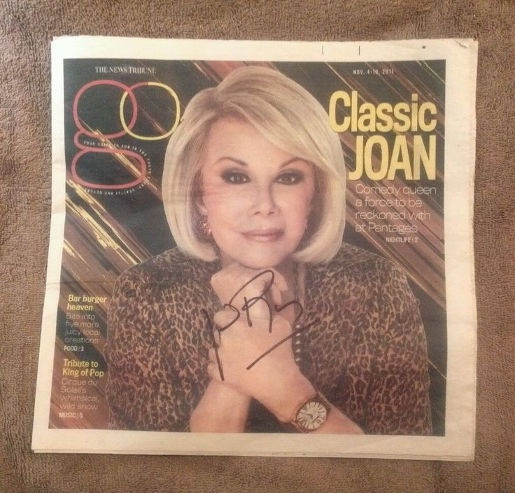 """""""joan Rivers"""" Signed """"tacoma News Tribune/go Magazine""""...on The Cover In Black!"""