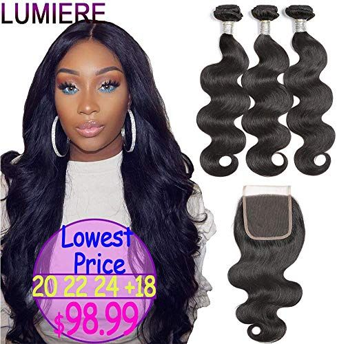 New LUMIERE Hair Body Wave Human Hair 3 Bundles Closure Double Weft Brazilian Hair Bundles With Closure (20 22 24 18, Free Part) online shopping