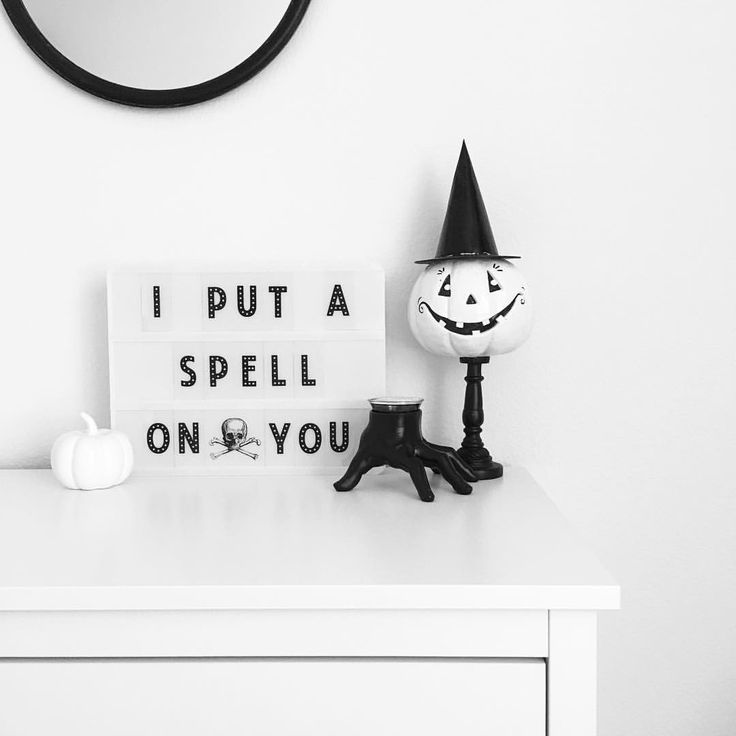 See this Instagram photo by @vee.zel • Halloween decor | Halloween decorations | Fall decor | White pumpkins | Heidi Swapp light box | Hocus Pocus | Modern Halloween decorations | Monochrome Halloween
