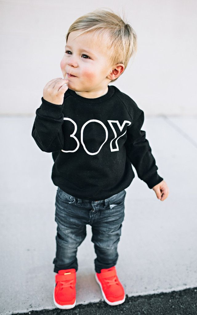 cute BOY black and white sweater