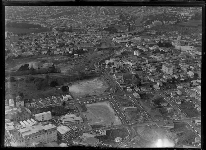 1969. Symonds St in centre. work starting on SH1 through the city