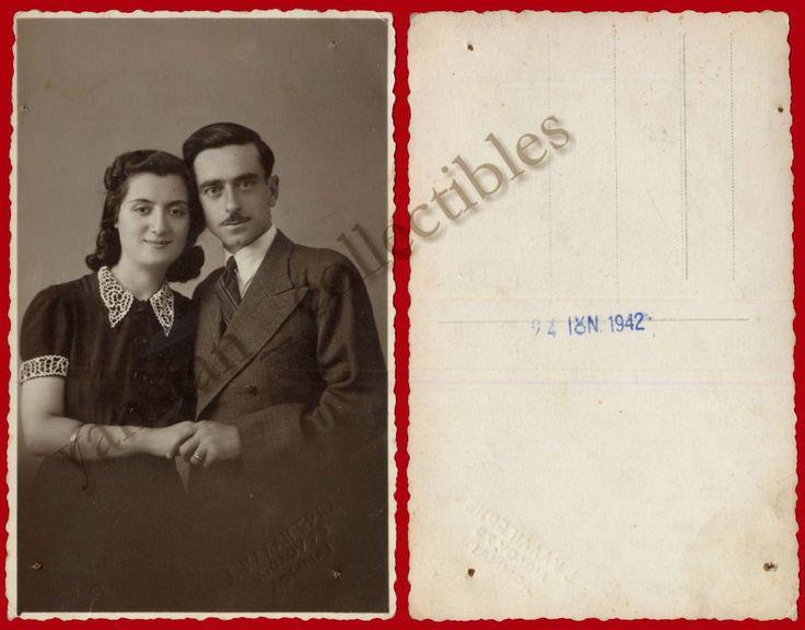 #18022 ATHENS Greece 24.6.1942. Man & woman. Photo PC size KALLIGERIS.