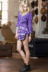 SPELL DESIGNS BOHEMIAN ROYALE PLAYSUIT - DEEP PURPLE from naked labels